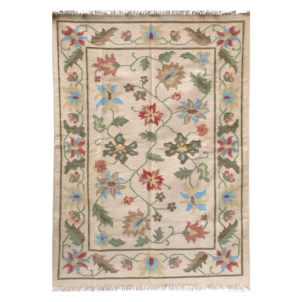 Phlora Camel And Green Dhurrie Rug