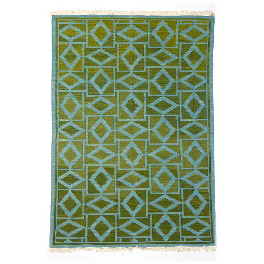 Lime Green And Blue Rug: HEERA-lime Green & Pale Blue Dhurrie (rug)