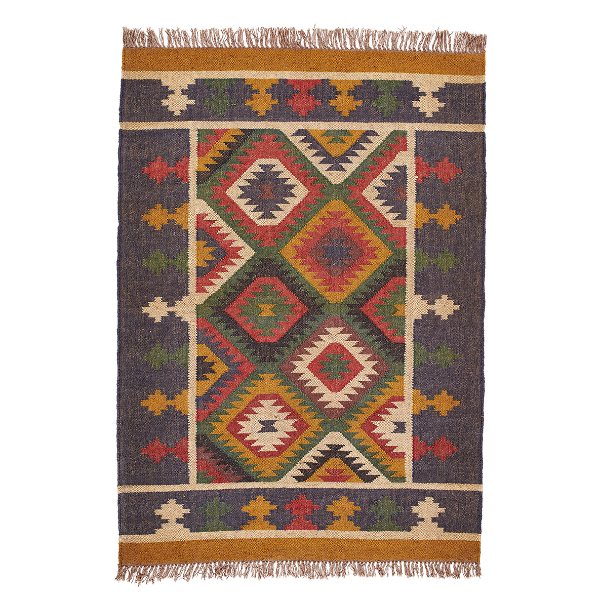 coloured multi lifestyle dhurrie mahout rug aztec product earthy