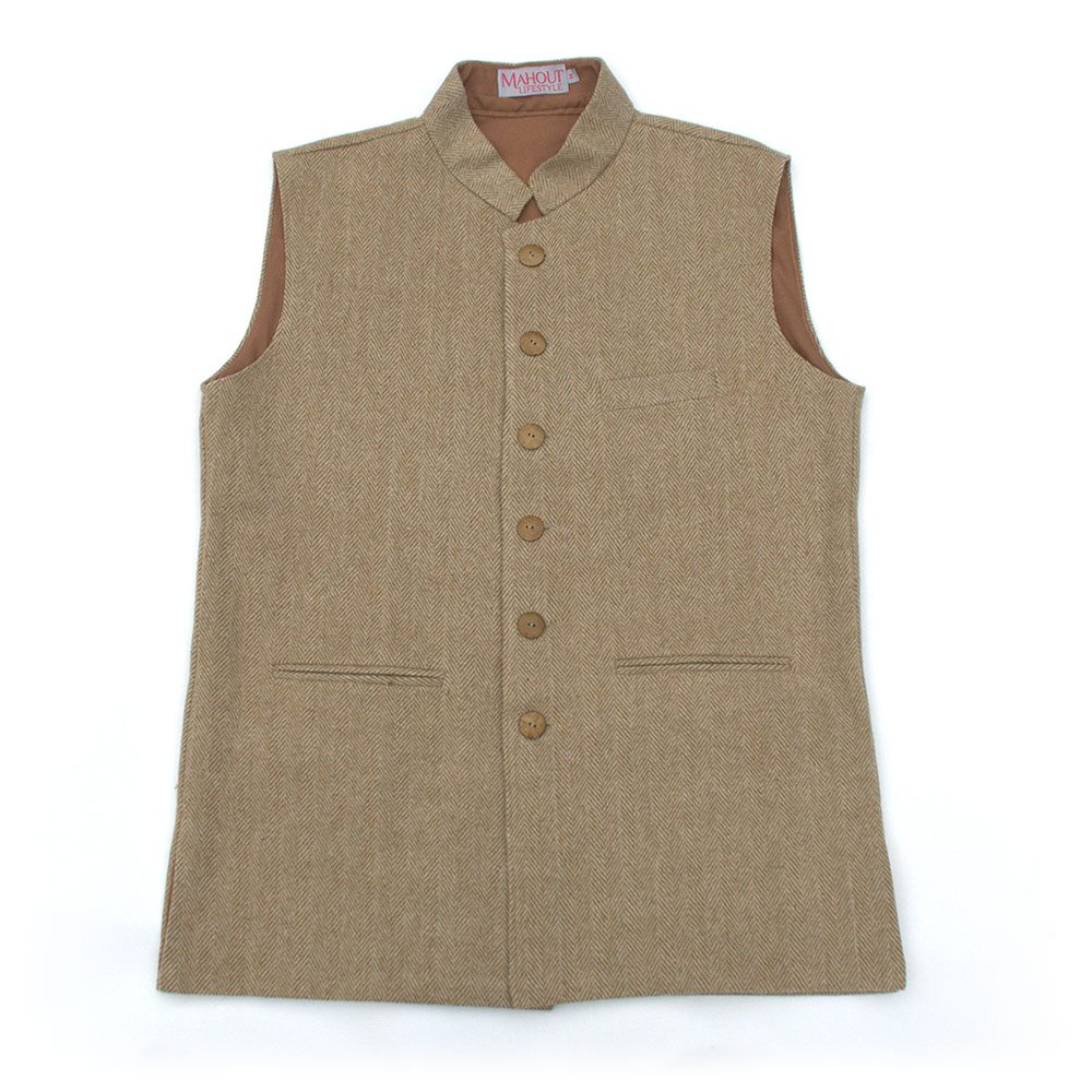 light_brownbeige_herringbone_tweed_jerkin_gilet_