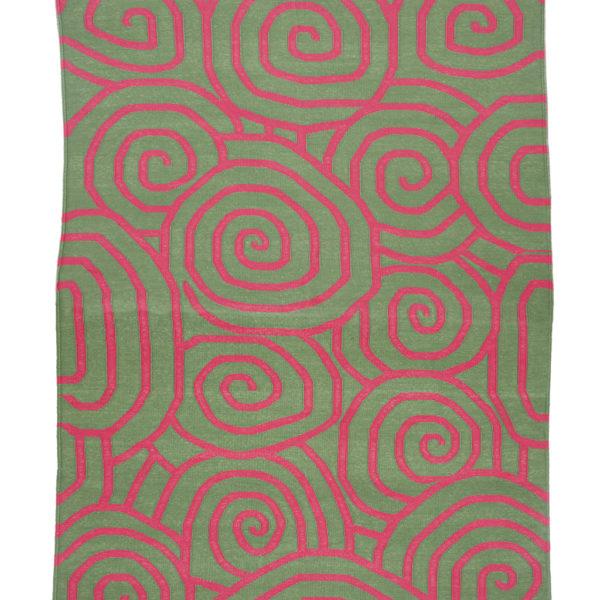 HALAKON-Dark Green And Rich Pink Cotton Dhurrie (rug