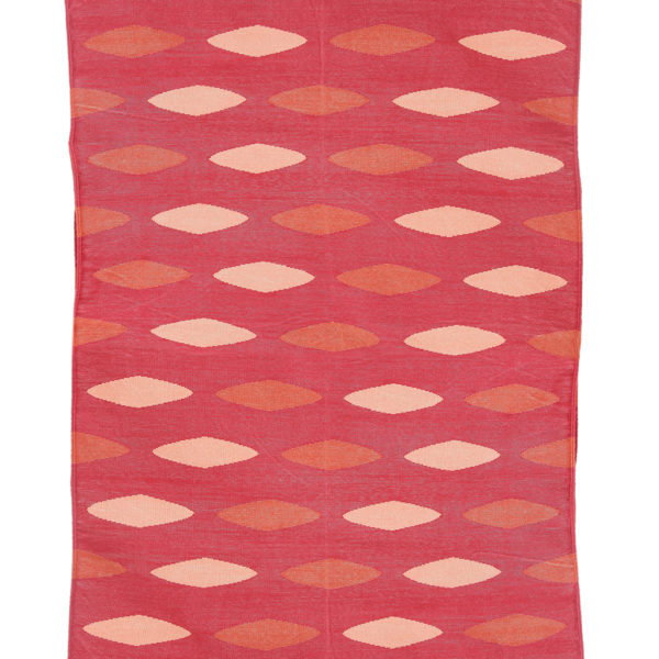 SHANKU-Red, Pink And Terracotta Cotton Dhurrie (rug