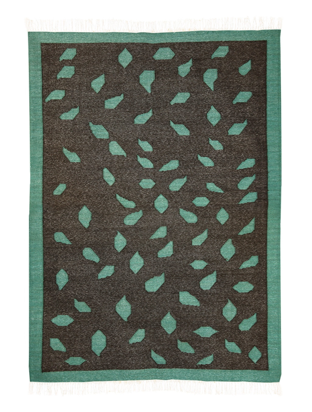 Patta Grey Amp Green Wool Amp Cotton Dhurrie Rug Mahout