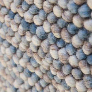 """JAMUN- Light Blue, white & Beige """"Bobbly""""100% wool Dhurrie (rug)"""