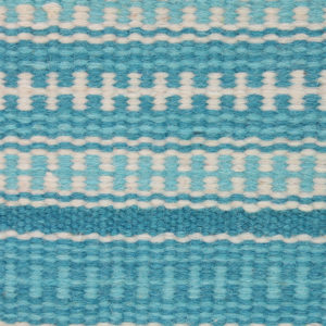 DHAAREE- Bright Blue and white 100% wool Dhurrie (rug)