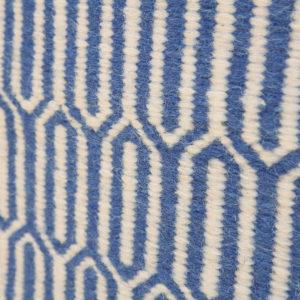 SHATKON- Sky Blue and white 100% wool Dhurrie (rug)