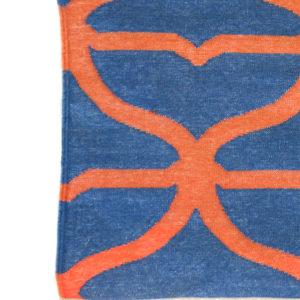 JALI- Ink Blue & Coral 100% wool Dhurrie (rug)