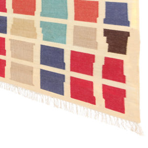 EENT – Multi Coloured & Sand background 100% wool Dhurrie (rug)