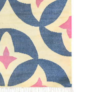 KAMAL- Blue & Pink with white background 100% wool Dhurrie (rug)
