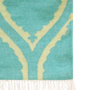 ASHRU – Turquoise & Lime 100% wool Dhurrie (rug)