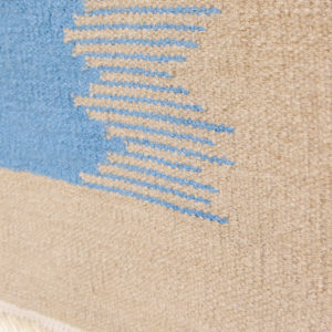 IKAT- Sand & Sea Blue 100% wool Dhurrie (rug)