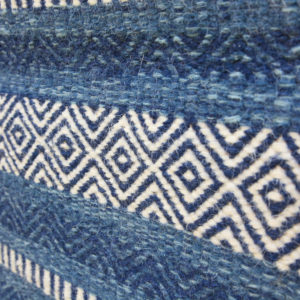 SHAILEE – Multi Blue striped design 100% wool Dhurrie (rug)
