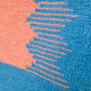 IKAT- Sea Blue and Coral 100% wool Dhurrie (rug)